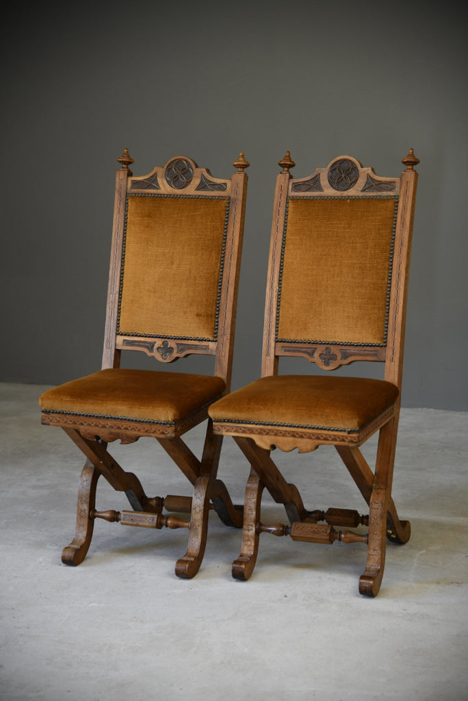 Pair Antique Ecclesiastical Side Chairs - Kernow Furniture