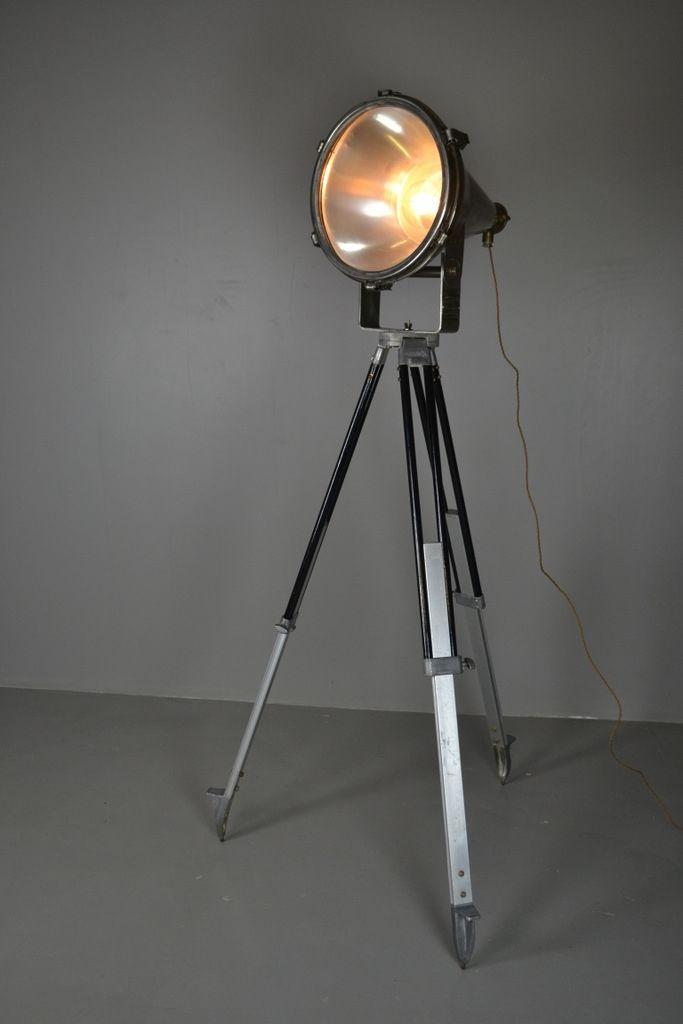 Aluminium Mercury Ships Flood Lamp on Tripod Stand - vintage retro and antique furniture