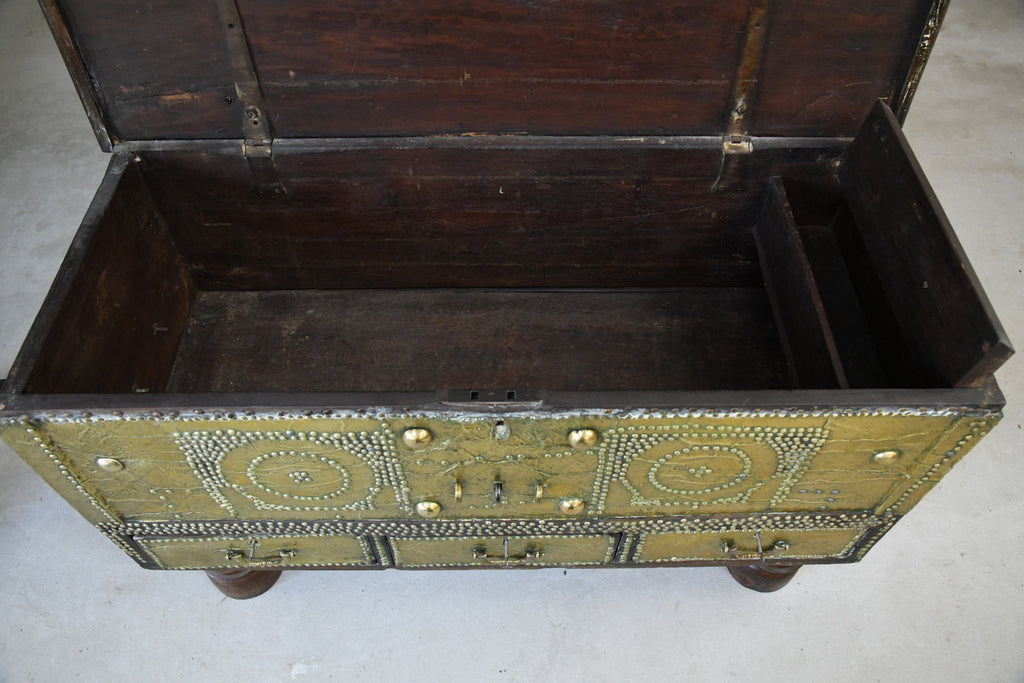 Antique Arab Teak & Brass Bound Chest - Kernow Furniture
