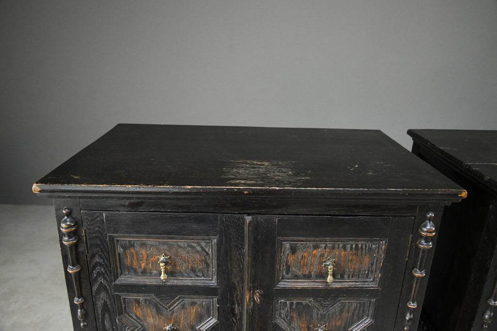 Pair Jacobean Style Oak Cabinets - Kernow Furniture