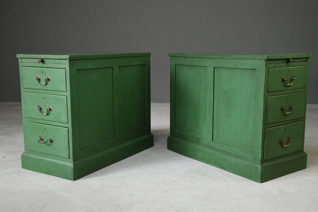 Pair Green Pedestal Side Tables Office - Kernow Furniture