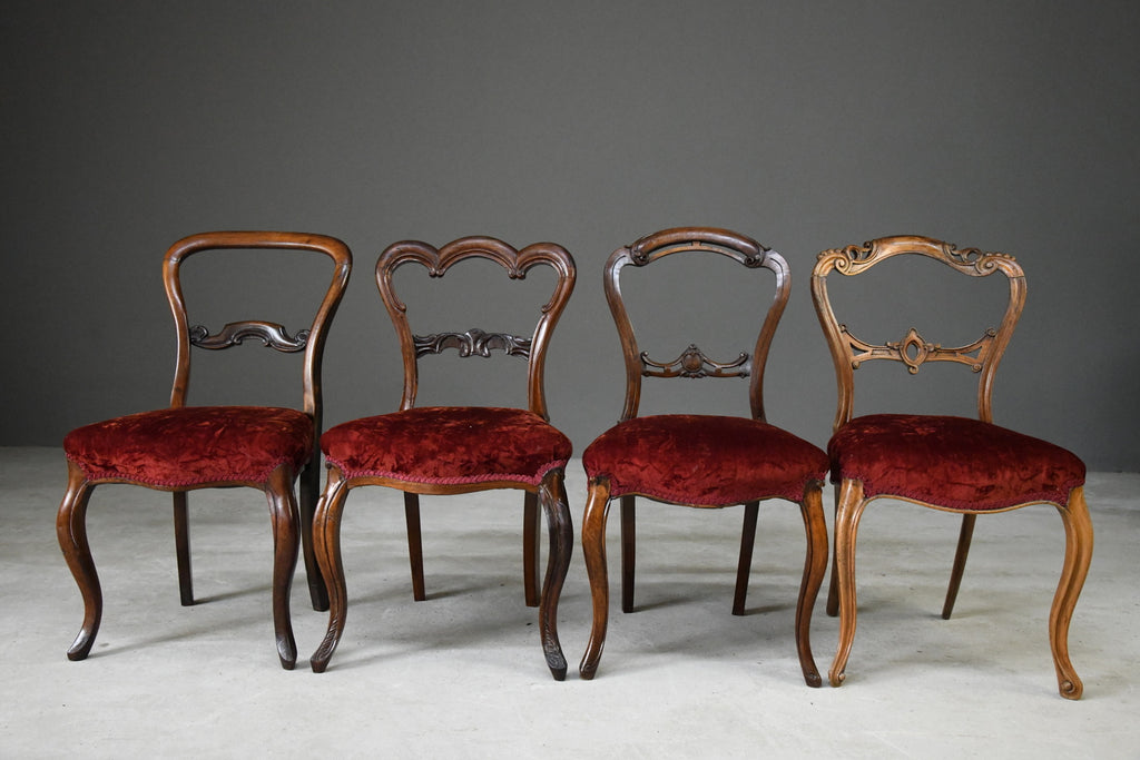 4 Victorian Mahogany & Rosewood Dining Chairs - Kernow Furniture