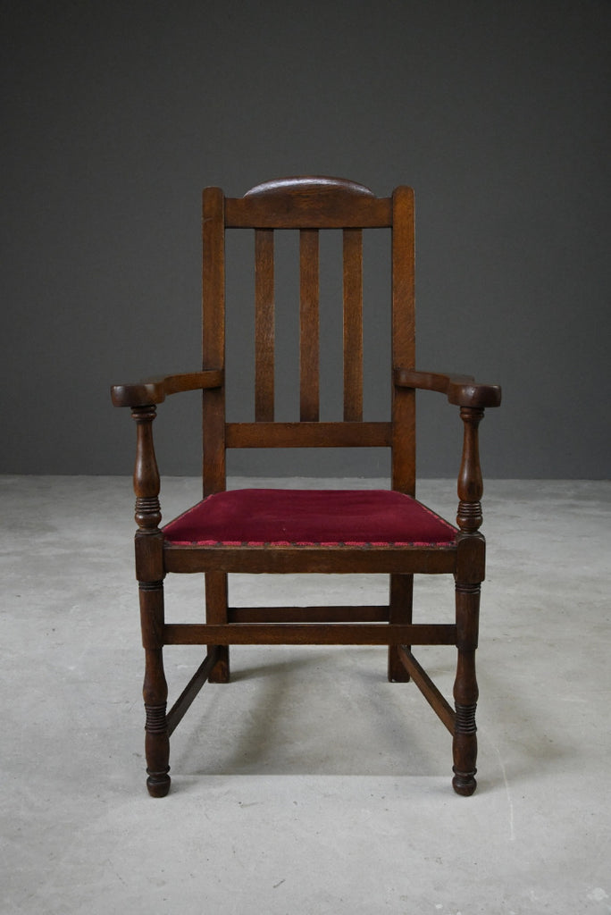 Early 20th Century Oak Carver Chair - Kernow Furniture