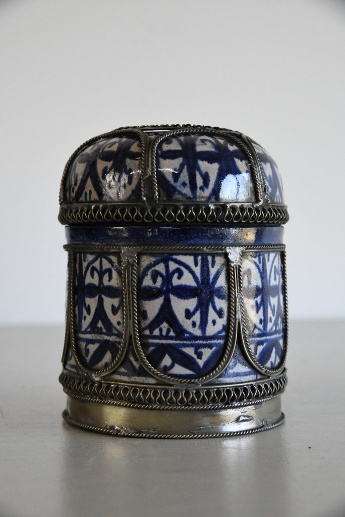 Metal Mounted Persian Faience Jar - Kernow Furniture