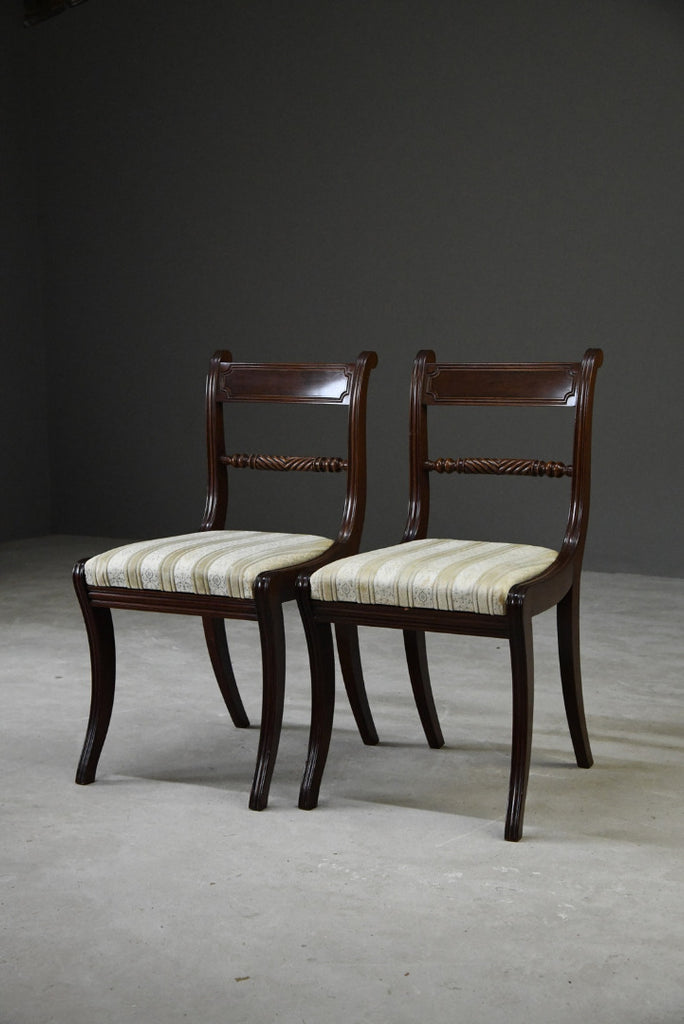 Pair Regency Style Dining Chairs - Kernow Furniture