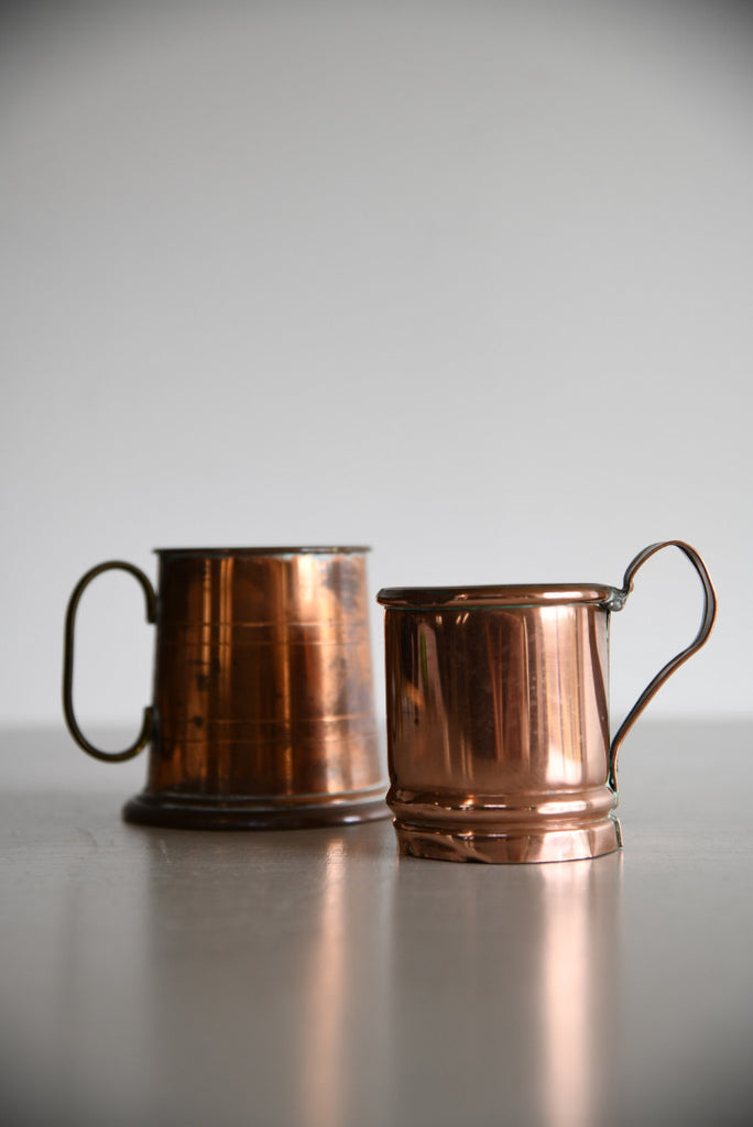 Pair Copper Tankards - Kernow Furniture