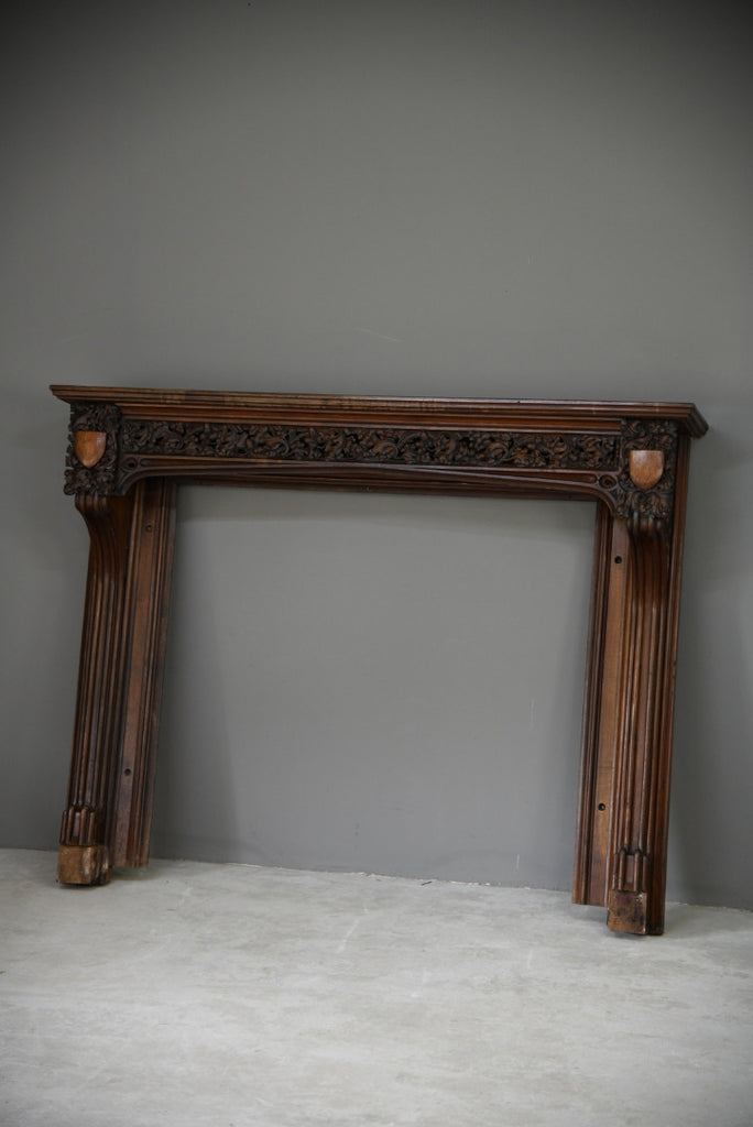 Carved Mahogany Ecclesiastical Fire Surround Mantlepiece - Kernow Furniture