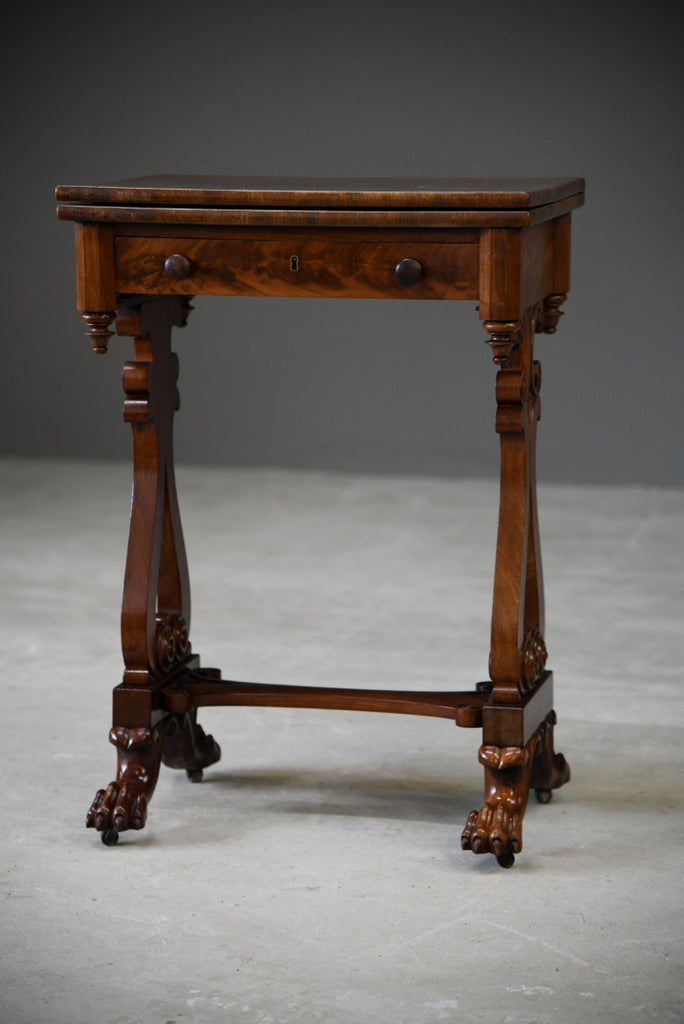 Antique Victorian Mahogany Games Table - Kernow Furniture