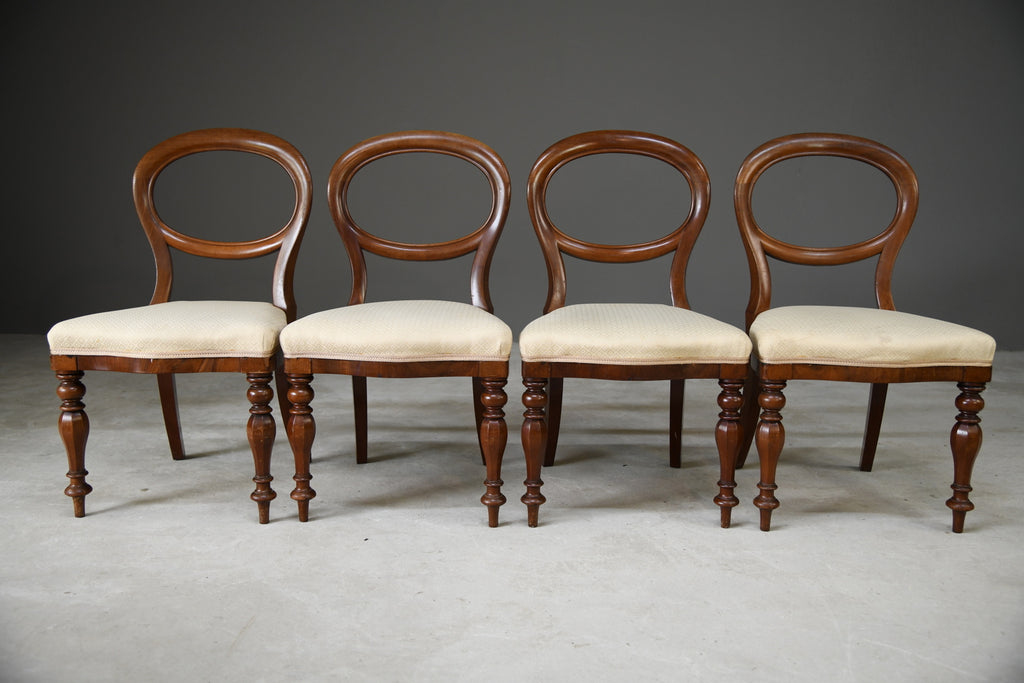 Set 4 Victorian Style Dining Chairs - Kernow Furniture