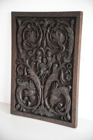Carved Wood Ornamental Plaque - Kernow Furniture