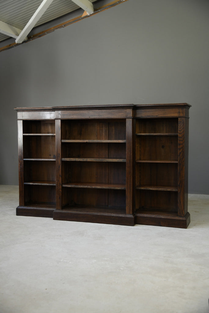 Antique Oak Breakfront Bookcase - Kernow Furniture