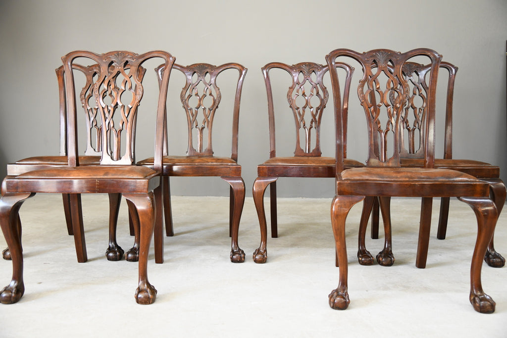 Set 6 Quality Chippendale Style Dining Chairs - Kernow Furniture