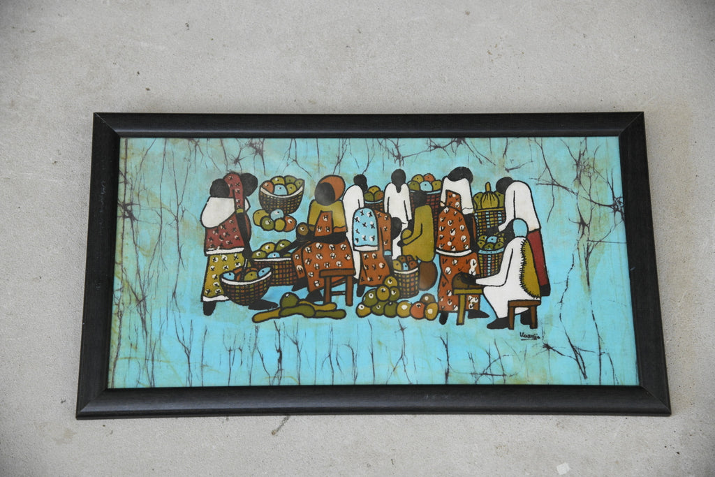 Framed Batik Silk Painting - Kernow Furniture