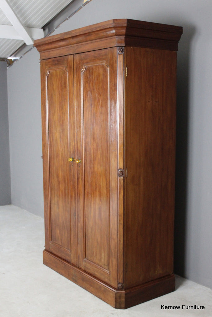 Large Victorian Figured Mahogany Double Wardrobe - Kernow Furniture