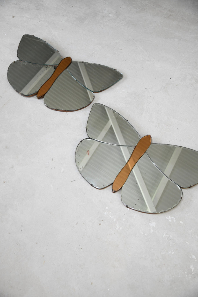 Pair Deco Butterfly Mirrors - Kernow Furniture