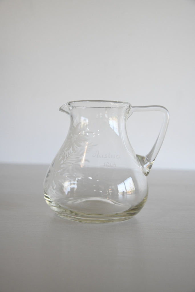 Vintage Etched Austrian Glass Jug - Kernow Furniture