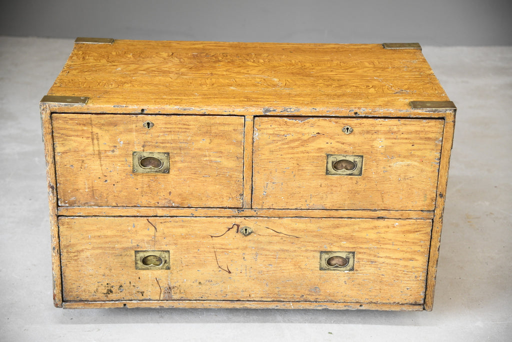Antique Scumble Finish Campaign Chest - Kernow Furniture