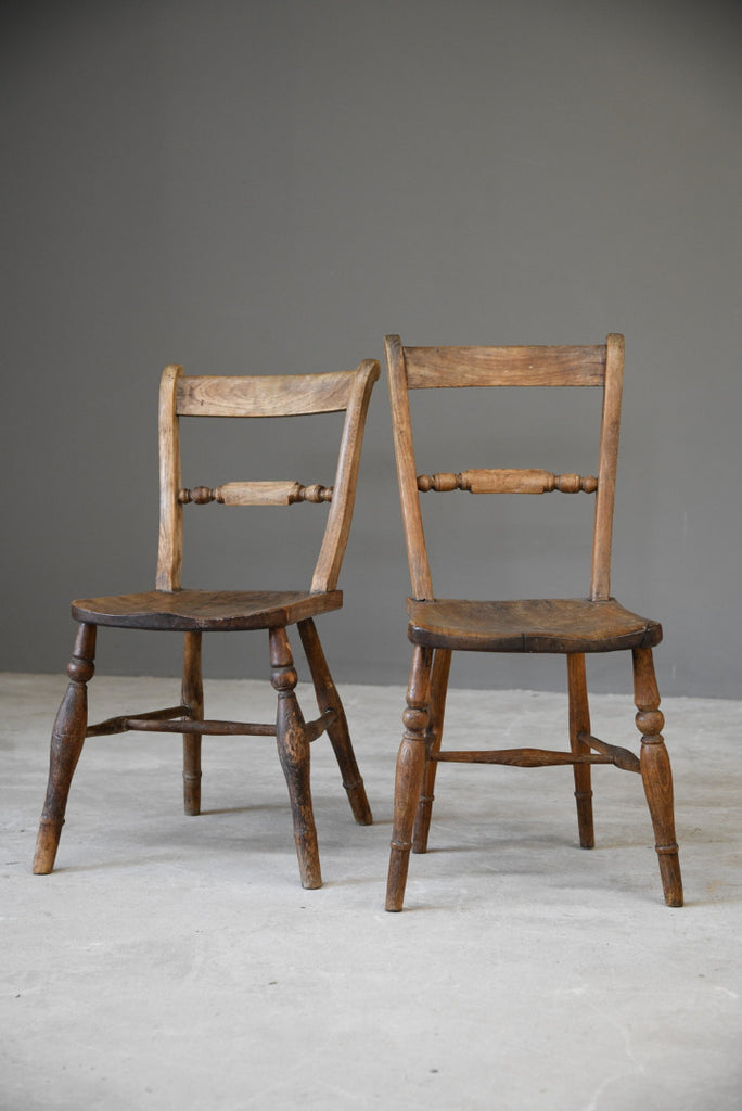 Pair Rustic Kitchen Chairs - Kernow Furniture