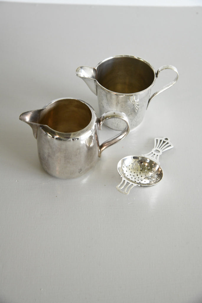 Pair Silver Plate Milk Jugs & Tea Strainer - Kernow Furniture