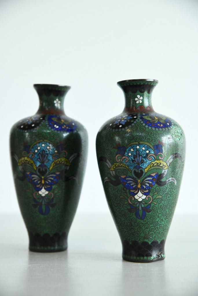Pair Cloisonne Vase - Kernow Furniture