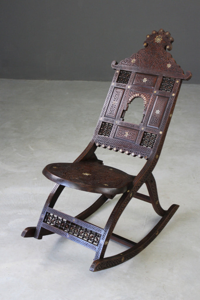 Moorish Carved Teak & Inlaid Rocking Chair - Kernow Furniture