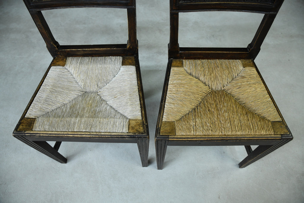 Pair Stained Fruit Wood Rush Kitchen Chairs - Kernow Furniture
