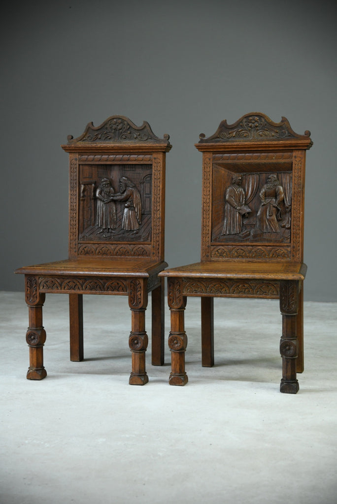 Pair Victorian Carved Oak Gothic Revival Hall Chairs - Kernow Furniture