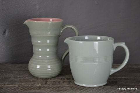Pair Vintage Green Jugs Lovatts Woods Ware - Kernow Furniture 100s vintage, retro & antique items in stock