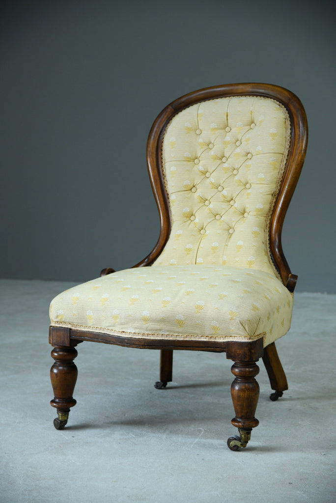 Antique Yellow Upholstered Victorian Mahogany Nursing Easy Side Chair - Kernow Furniture