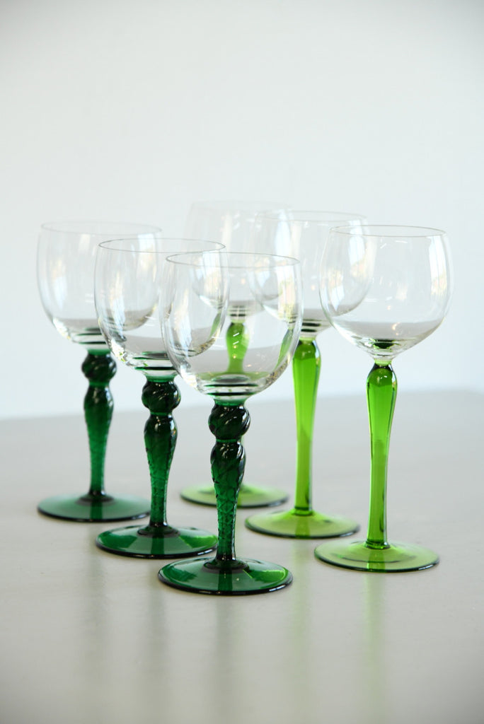 6 Green Stem Wine Glass - Kernow Furniture