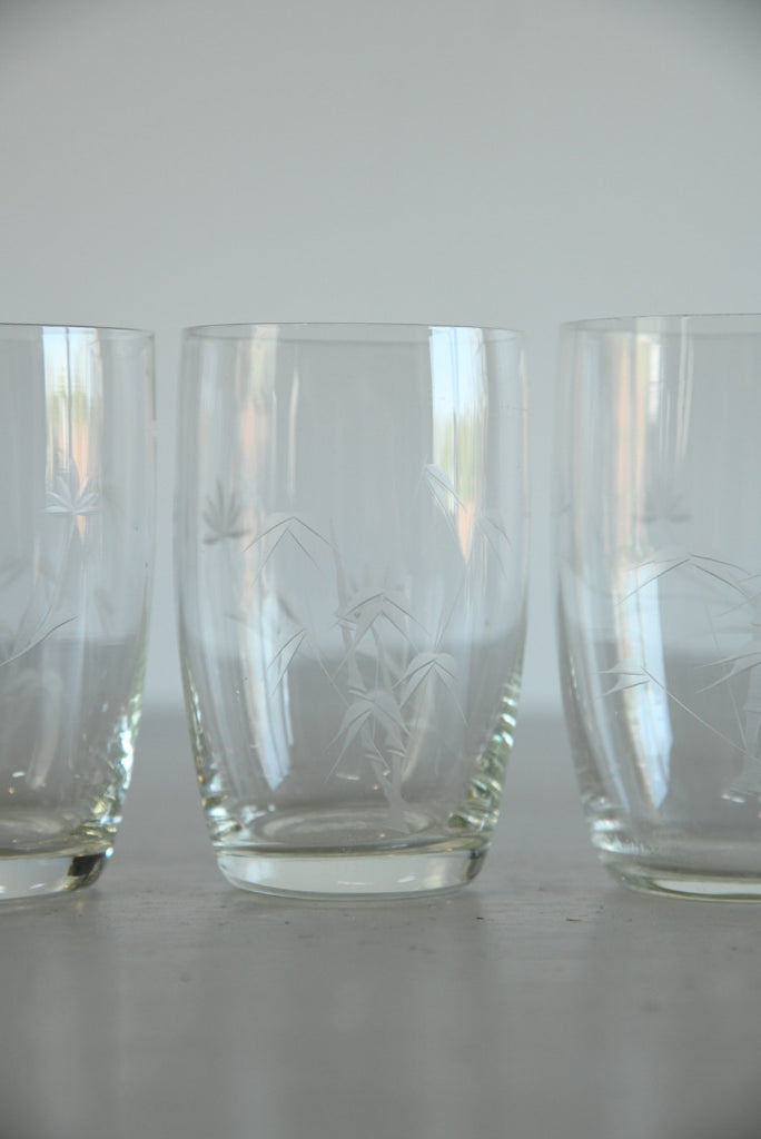 4 Vintage Etched Water Glass - Kernow Furniture