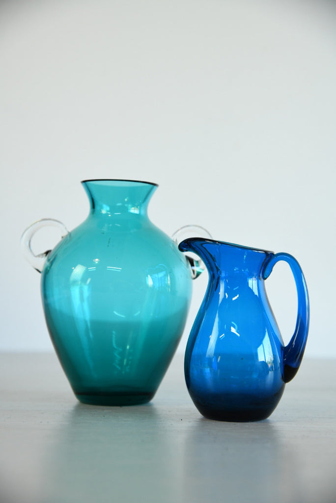 Vintage Blue Glass Vase & Jug - Kernow Furniture
