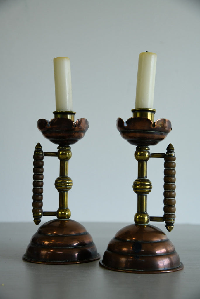 Pair Christopher Dresser Arts & Crafts Candlesticks - Kernow Furniture