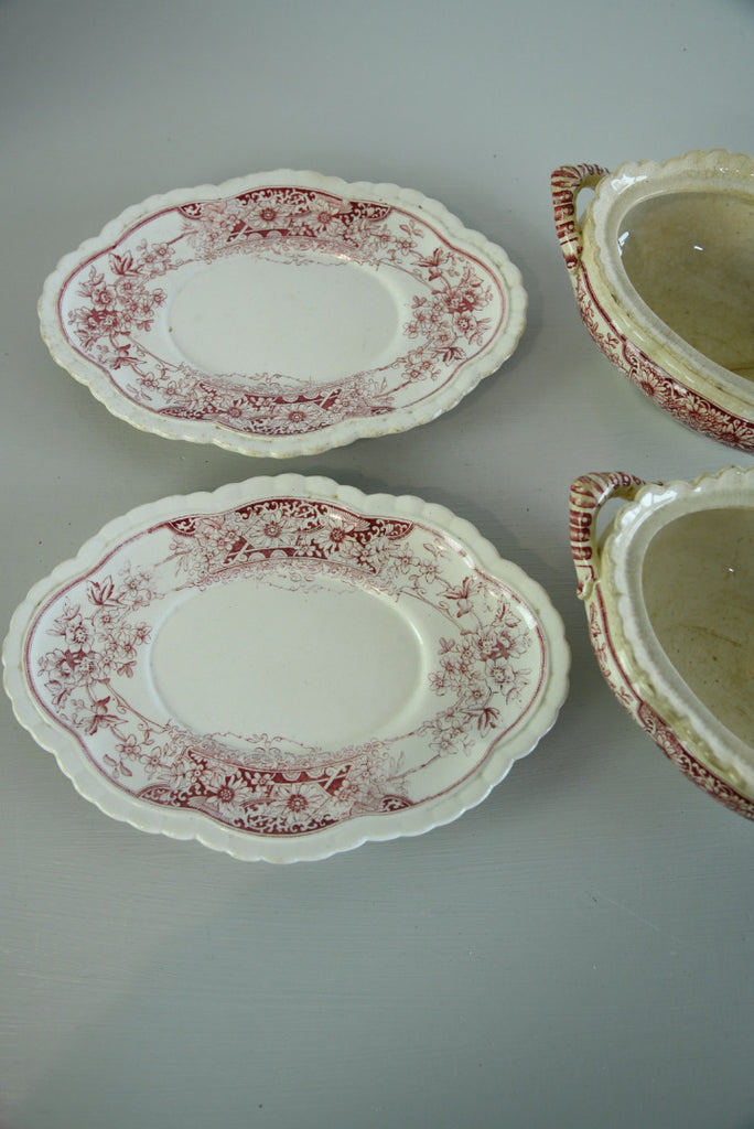 Pair Red Transferware Sauce Tureen - Kernow Furniture