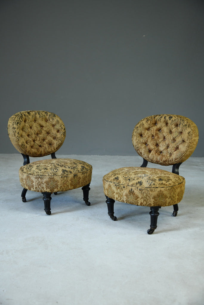 Pair Victorian Ebonised Salon Chairs