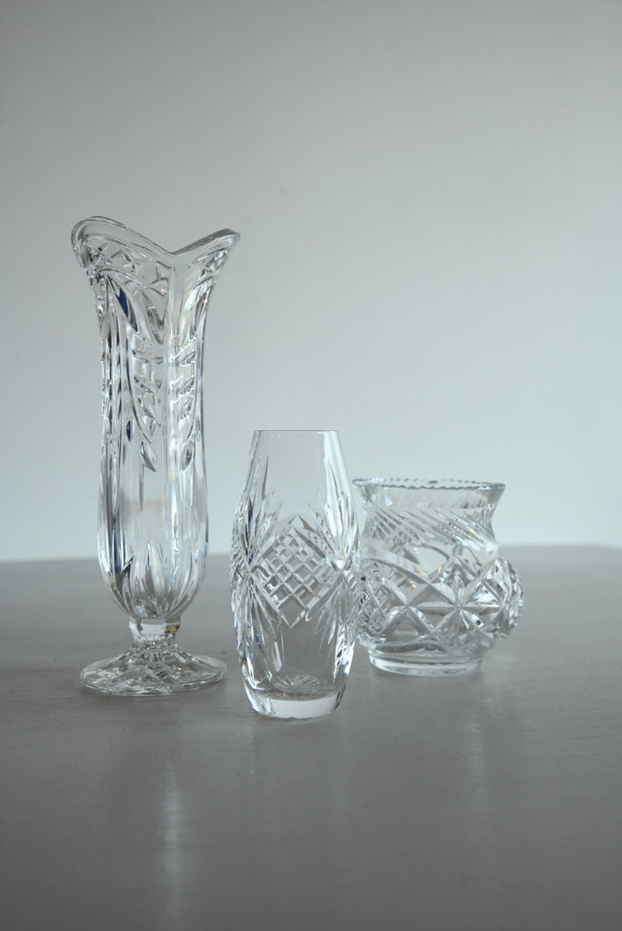 3 Vintage Crystal Glass Vase