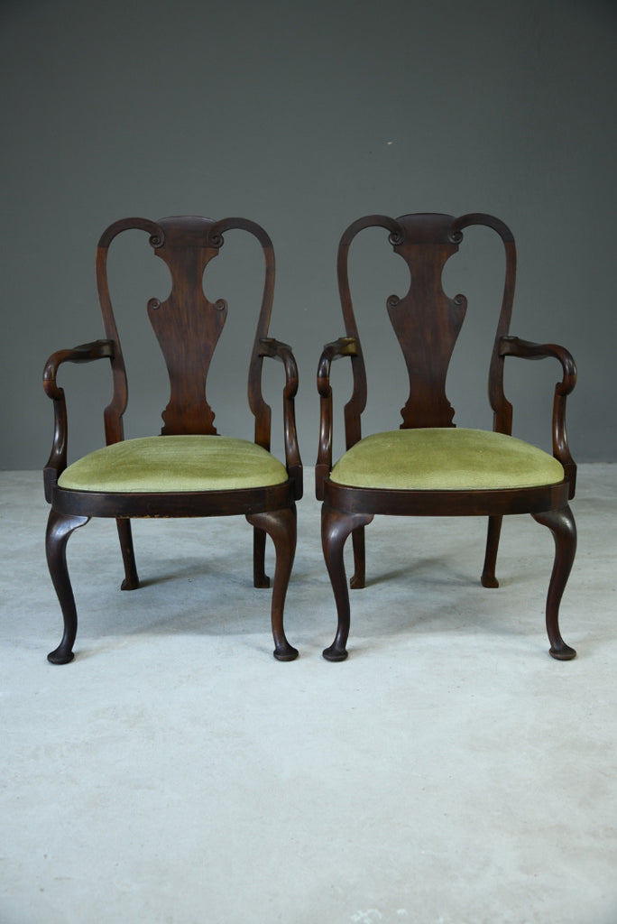 Pair Queen Anne Style Carver Chairs