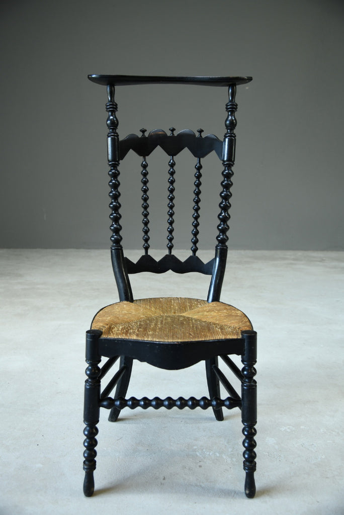 Continental Ebonised Prayer Chair