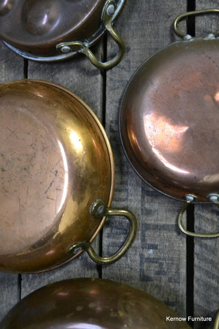 3 Copper Pans & Egg Poacher - Kernow Furniture 100s vintage, retro & antique items in stock