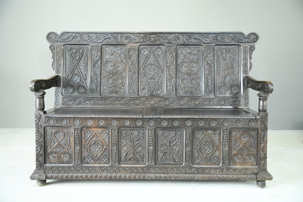 Antique Carved Oak Box Settle