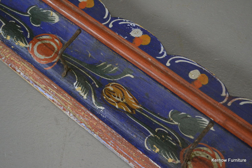 Vintage Folk Painted Coat Hooks - Kernow Furniture 100s vintage, retro & antique items in stock