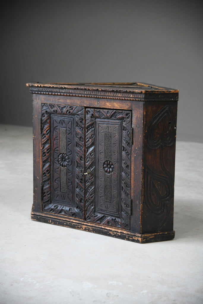 Grained Carved Rustic Hanging Cupboard