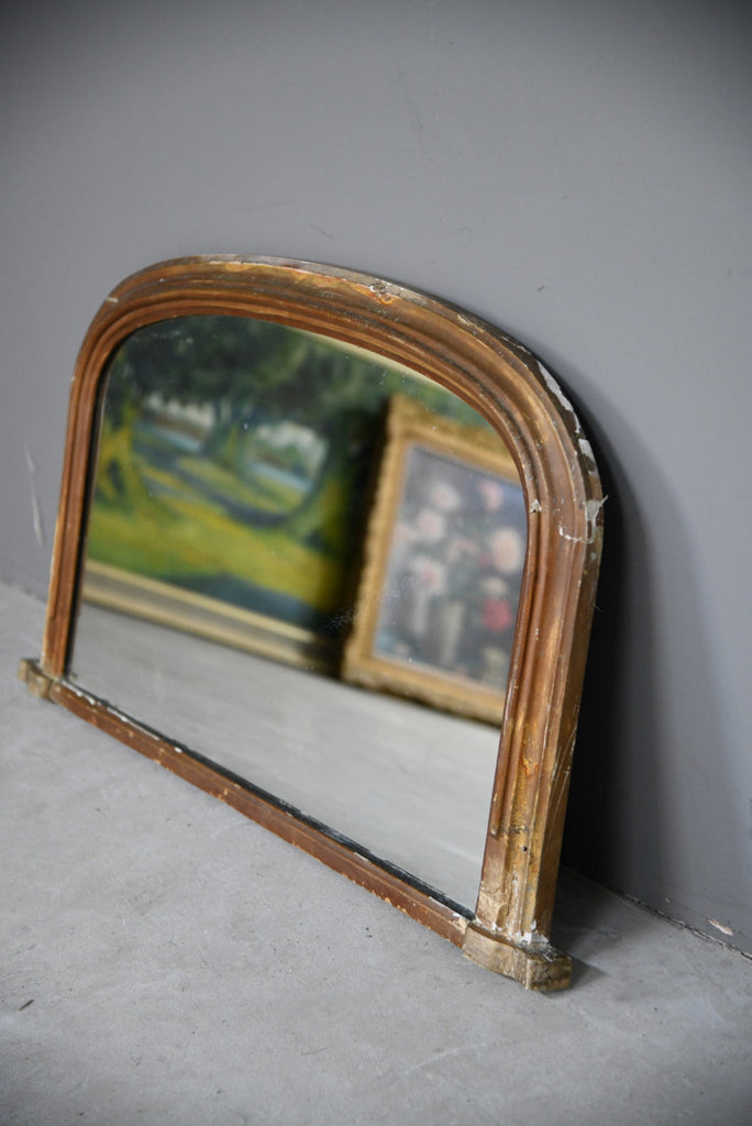 Arched Gilt Overmantle Mirror