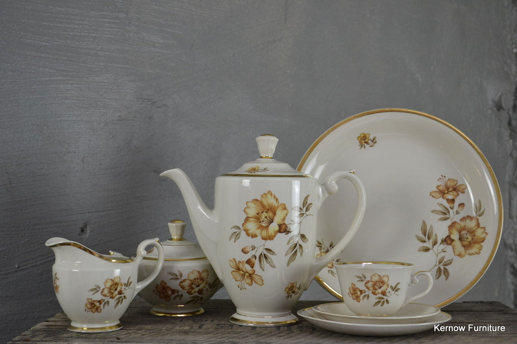 Arabia Finland Vintage Gold Floral Coffee Set - Kernow Furniture 100s vintage, retro & antique items in stock