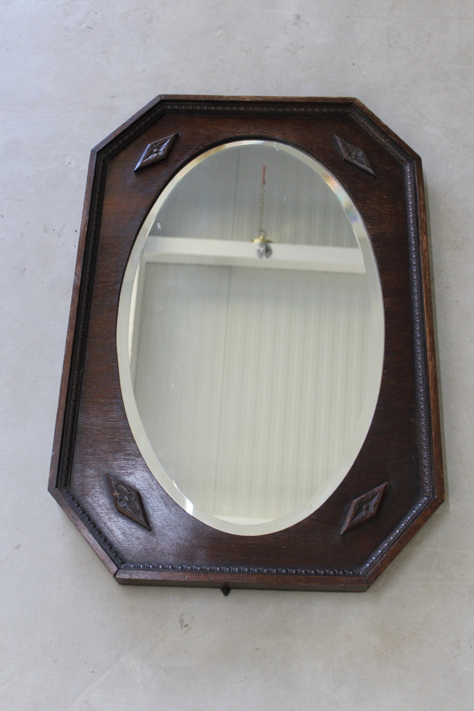 1940s Dark Oak Over Mantle Mirror - Kernow Furniture
