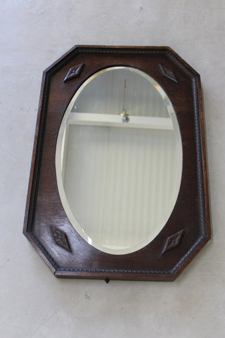 vintage 1940s dark oak overmantle wall mirror
