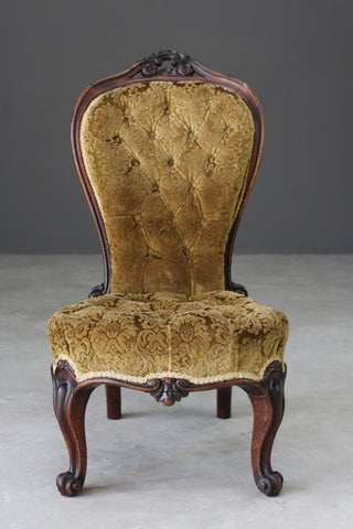 Victorian Rosewood Buttoned Nursing Chair - Kernow Furniture