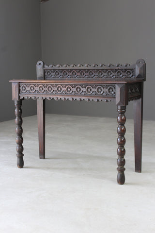 Antique Victorian Oak Carved Side Table - Kernow Furniture