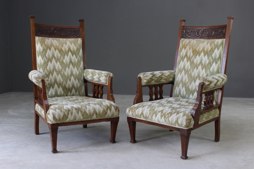 Pair Antique Edwardian Library Chairs - Kernow Furniture