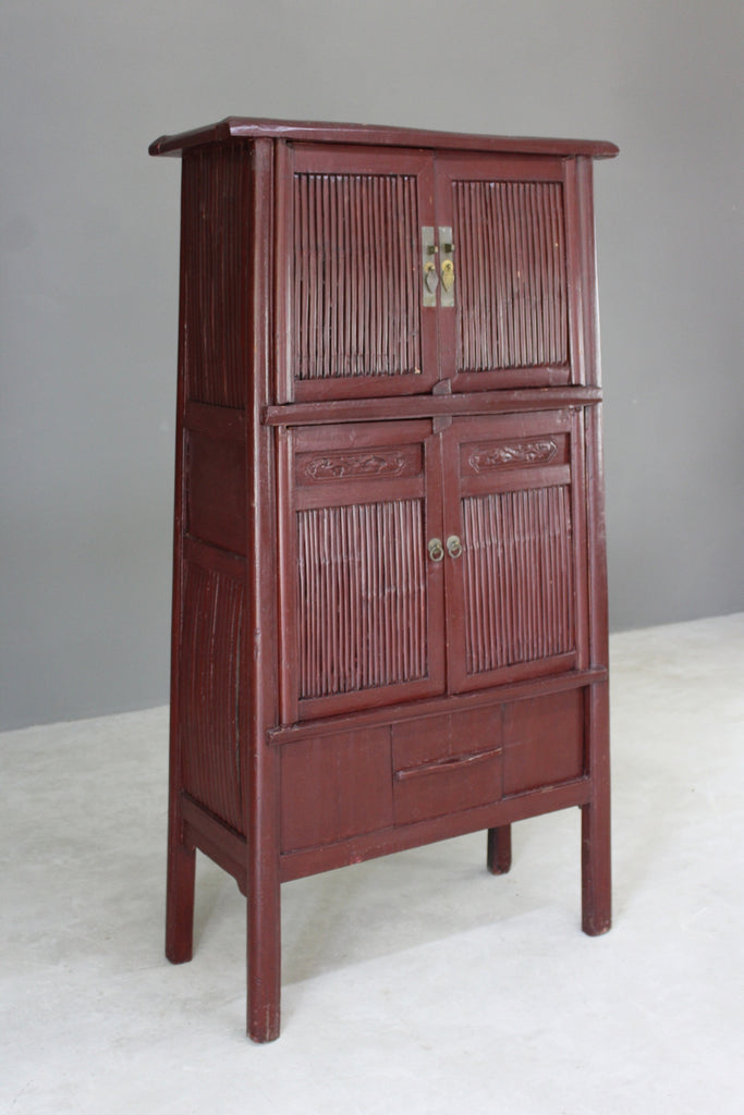 Tall Red Oriental Freestanding Cupboard - Kernow Furniture